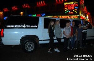 Kids birthday limo at Skegness pier copy